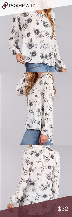 ✨HP✨BLACK/WHITE LONG SLEEVES BLOUSE 🎈HOST PICK✨✨Print, waist length long sleeves top in a relaxed style with a mandarin collar, and slight pleated detailing, 100% rayon.✔️Price is firm. Blu Pepper Tops Blouses