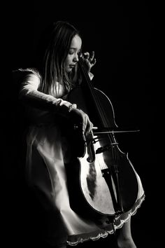 ♫♪ Music ♪♫ Musical musician girl play cello Laura by Dirk Heinze
