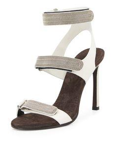 S0D9E Brunello Cucinelli Three-Strap Monili Leather Sandal, Graphite
