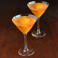 Peach Mango Bellinis.  Inspired by Milestone's bellinis, but made with whole ingredients with no added sugar. Bottom's up!