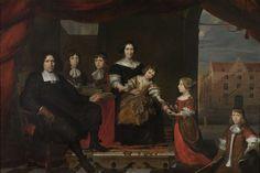 Reyer Reyersz van der Burch (1630-1695), commies van de Ammunitie aan de Generaliteitsmagazijnen te Delft, met zijn vrouw Geertruid Graswinckel en hun kinderen Frank, Cornelis, Reyer, Maria en Alida, toegeschreven aan Cornelis de Man, 1670 - 1680