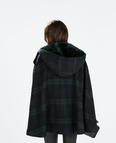 Image 6 of HOODED CHECKED WOOL CAPE from Zara