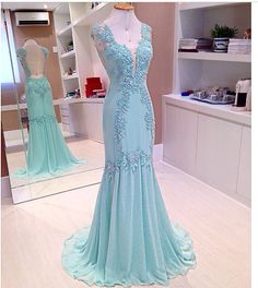 Long prom dress, 2015 elegant v-neck open back light blue A-line long lace chiffon prom dress for teens, ball gown, cute evening dress Modest Prom Gowns, Backless Evening Gowns, Prom Dresses 2015, Evening Party Gowns, Prom Dresses Blue, Evening Dresses, Formal Dresses, Dress Prom, Party Dresses