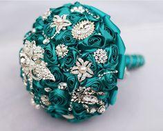 teal brooch Bouquet   Etsy, handmade bridal bouquet, teal blue brooch bouquet, bouquet ...