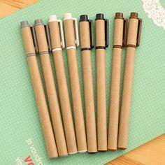 4Pcs/Set Kraft Paper Gel Pen Set Eco Friendly Kawaii School Supplies Office Stationary Kawaii Pens Stationery Gel Ink Pen Color