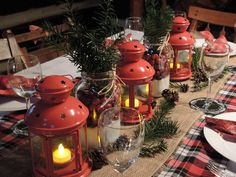 Christmas table setting, cabin Christmas decor using mason jars filled with epsom salts, cranberries and yew sprigs, ikea lanterns, burlap and plaid table runners Cabin Christmas Decor, Country Christmas Decorations, Christmas Table Settings, Christmas Tablescapes, Christmas Centerpieces, Rustic Christmas, Christmas Tree Ornaments, Christmas Holidays, Holiday Decor