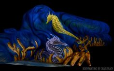 Amazing set of bodypainting art by Craig Tracy. Craig Tracy, Craig David, Skin Wars, Illusion Pictures, Human Body Art, Woman Painting, Painting Art, Seahorse Painting, Painting Gallery