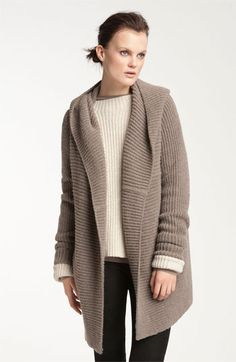 Want this for fall! Vince Hooded Ribbed Cardigan available at #Nordstrom