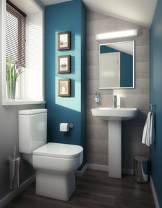 6 Blue Bathroom Ideas: Soothing Looks Blaue Badezimmerfarbe Farbideen Ozeanblaue Badezimmer-Ideen, blaue Badezimmer-Farben Bathroom Toilets, Bathroom Renos, Grey Bathrooms, Bathroom Ideas, Cloakroom Ideas, Bathroom Designs, Aqua Bathroom, Simple Bathroom, Bathroom Vanities