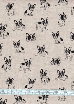 "This is a Fat Quarter of printed, 100% cotton Fabric with French Bulldogs on it. Though 100% cotton, the fabric looks and feels like linen. The horizontal pattern repeat is 45.8cm (18"") and the vertical pattern repeat is 21.4cm (8 3/8""). 