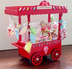1:12 scale dollhouse miniature candy push cart kiosk, doll house miniatures cotton candy sweets lollipop, pop corns, balloons, gumballs