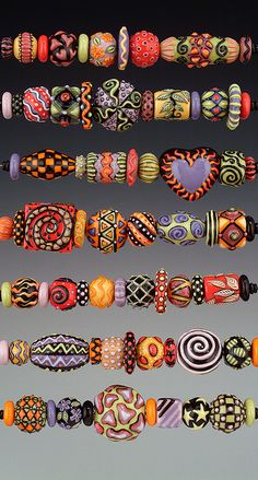porcelain beads - great color combos and designs - eye candy! - by Joan Miller of MillerPorcelain - these could so be clay!!!!