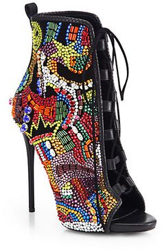 Giuseppe Zanotti Crystal-Covered Comic Open-Toe Booties