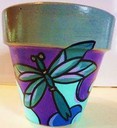 Original Hand Painted Terra Cotta Flower Pot- etsy