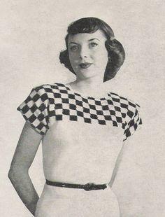 1940s vintage checkered knitting pattern