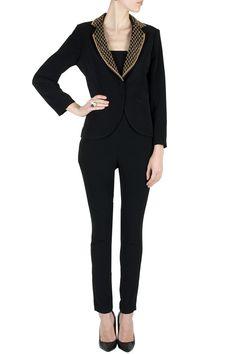 Black hand beaded collar blazer  Website : http://www.bhartistailors.com/ Email : arvin@bhartistailors.com #Clothes #Blazer