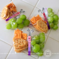 Connie Hanks Photography // ClickyChickCreates.com // healthy butterfly snacks made with baggies, clothes pins, pipe cleaner, grapes, fruit,...