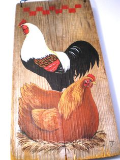 Vintage Chicken Wall Hanging Hand Painted On Old Barn Wood 1980s Home Decor Decoration Rustic Hens Rooster.  via Etsy.