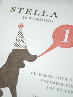 First Birthday Invitation Dog