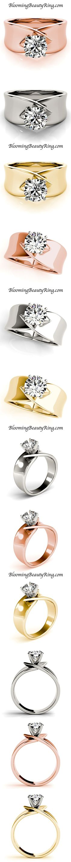 BloomingBeautyRing.com (213) 222-8868 - A Gorgeous Solitaire Diamond #EngagementRing with a unique wide band available in many different types of metal.