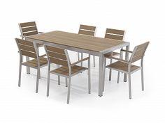 Aluminum and Poly Wood Outdor Dining Set & 6 Chairs - Vernio Brown