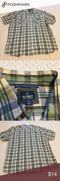 Old Navy Button Down Shirt Men's Old Navy Button Down Shirt Sleeve Shirt, Soze XXL, its Blue and Green Plaid with a little Orange. Old Navy Shirts Casual Button Down Shirts