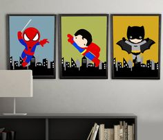 super hero wall decor, wall art prints, color customized to your childs room, 3 PRINTS, shipped to your door