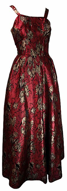 Alice Edwards Red and Gold Brocade Evening Dress (UK8-10)