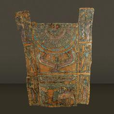 Antique Egyptian mummy cartonnage in custom frame    Medium: Polychrome and Jesso on Linen    1st Roman Period    Origin: Egypt