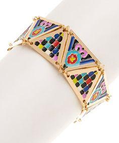 Gold & Blue Mari Bracelet by nOir Jewelry #zulily #zulilyfinds
