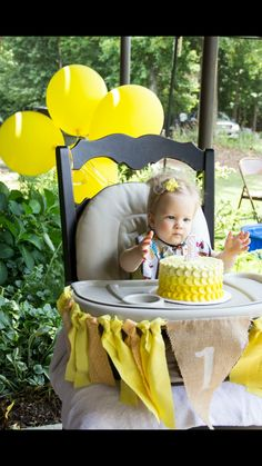 You are my sunshine 1st birthday party with ombré smash cake
