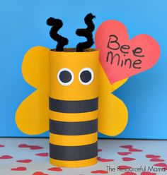 "Valentine's Day ""Bee Mine"" craft for kids using recycled toilet paper rolls"
