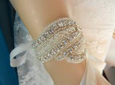 Wedding Jewelry, Bracelet, Bridal Bracelet. gatsby, 1920s, rhinestone bracelet, wrist corsage, sparkle rhinestone cuff, bridesmaid bracelet