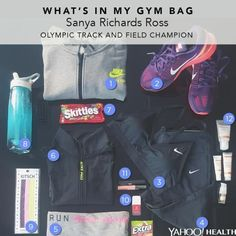 Sanya Richards Ross, four-time Olympic gold-medalist in track and field for Team USA, shows Yahoo Health what she carries in her gym bag.