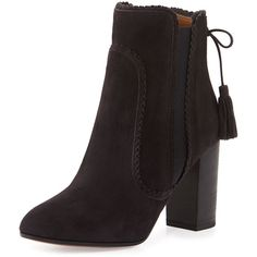 Aquazzura Boho Beatle Suede Bootie ($995) ❤ liked on Polyvore featuring shoes, boots, ankle booties, charcoal, booties, short boots, ankle boots, bootie boots and chukka boots