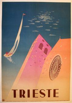 Trieste, 1951 - original vintage poster listed on AntikBar.co.uk