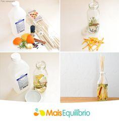 Aromas para cuidar da sua saúde e bem estar! Em um frasco ou garrafa de vidro coloque ¼ de xícara de álcool, ¾ de xícara de água, 20 gotas de óleo essencial, cascas de limão ou laranja, alecrim, cravos, canela em pau. Agora é só misturar todos os ingredientes delicadamente, coloque os espetos de bambu e, pronto, sua casa estará mais aconchegante e perfumada. http://maisequilibrio.com.br/aromaterapia-para-a-imunidade-7-1-6-799.html