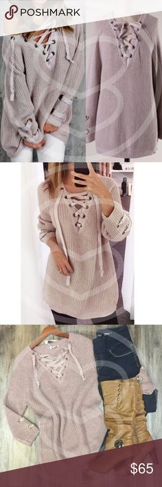 ALIA solid sweater tunic top Solid sweater tunic with criss cross self-tying strap.   PLS NOTE SLEEVE LENGTH WILL VARY DEPENDING ON EACH PERSONS HEIGHT & ARM LENGTH   NO TRADE   PRICE FIRM Bellanblue Tops