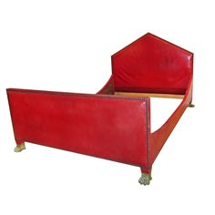 Maison Jansen Empire Style Red Leather Bed.