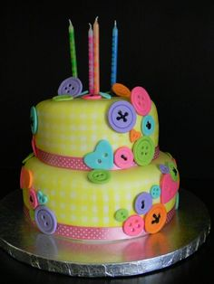 gingham and button cake (for Lalaloopsy party)