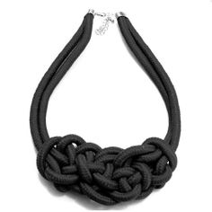 This fun rope knot necklace add the perfect pop to any outfit. Rope Knots, Knot Necklace, My Style, Bracelets, How To Make, Accessories, Black, Jewelry, Yellow