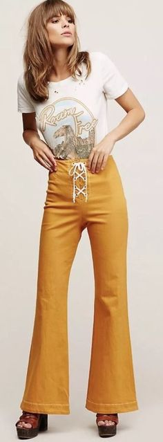 NEW $128 Free People Foxy Lace-Up Flares  SZ 0 In Amber Music Festival  Flares #FreePeople #FoxyLaceUpFlares