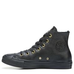 Converse Women's Chuck Taylor All Star Leather Fur High Top Sneakers (Black Leather) - 7.0 M