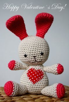 ao with <3 / happy valentine all together / A little heart bunny, free pattern by lilleliis, thanks so xox