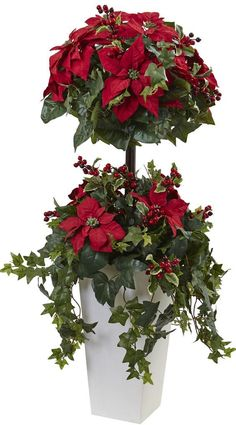 Poinsettia Berry Topiary w/Decorative Planter. Who needs a Christmas tree when you have this gorgeous 4 FT. Fun and festive, this poinsettia topiary is perfect for any Yuletide arrangement. Christmas Topiary, Christmas Flowers, Christmas Decorations, Christmas Holiday, Xmas, Topiary Plants, Topiary Trees, Topiaries, Christmas Floral Arrangements
