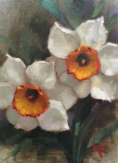 Daily Paintworks Daffodil Study Original Fine Art for Sale Krista Eaton Easy Flower Painting, Plant Painting, Flower Canvas, Flower Art, Narcisse, Floral Drawing, Arte Floral, Botanical Illustration, Daffodils