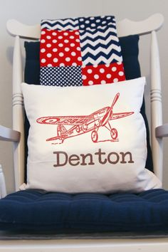 Project Nursery - White Vintage Boy Airplane Nursery Airplane Pillow