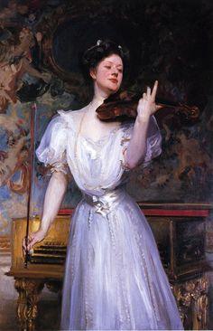 Lady Speyer (Leonora von Stosch), 1907. John Singer Sargent (American, Realism, 1856-1925). Oil on canvas.  Lady Leonora Speyer (née von Stosch) (1872–1956) was an American poet and violinist.