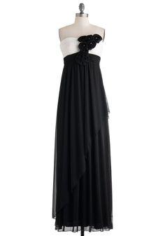 Sophisticated Fete Dress - Black, White, Flower, Ruching, Formal, Prom, Empire, Maxi, Strapless, Sweetheart, Wedding