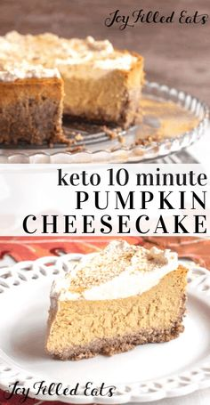 Keto Pumpkin Cheesecake – Low Carb, Gluten-Free, Grain-Free, THM S – This easy cheesecake recipe comes together in about 10 minutes in your food processor! Less than 10 ingredients to a delicious fall dessert. Cheesecake is. Keto Desserts, Desserts Sains, Keto Friendly Desserts, Keto Recipes, Dessert Recipes, Delicious Desserts, Holiday Desserts, Keto Holiday, Pumpkin Recipes Low Carb